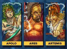 Apolo deus sol e da musica e arcoaria Ares deus da querra e violência Artemis deus lua caçadorra de monstros e protetora dos animais