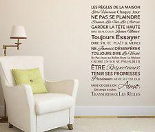 Les Règles de la Maison Sticker Mural Autocollant - Vinyle - Décoration Maison