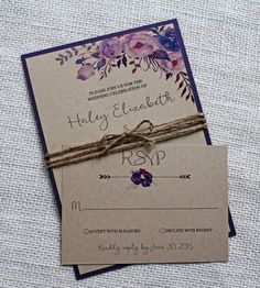Purple Wedding Invitation Bohemian Wedding by LoveofCreating