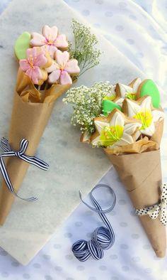 abschiedsgeschenk, blumen kekse, strauss, geschenk fuer frau