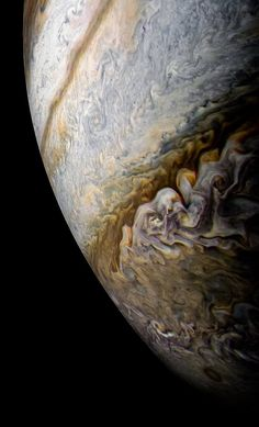 Jupiter's south temperate belt of clouds, as seen by Juno during its 11th perijove. NASA/JPL-Caltech/SwRI/MSSS/Kevin M. Gill