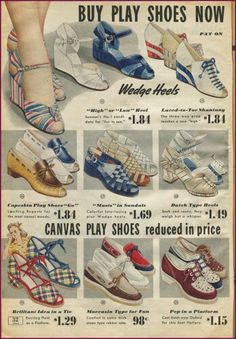 shoes sandals summer casual wedge oxford heels blue red brown canvas leather print ad stripes two tone color block plaid 1950s Shoes, Retro Shoes, Vintage Shoes, Vintage Accessories, Vintage 1950s Dresses, Vestidos Vintage, Vintage Outfits, Fashion Moda, 1940s Fashion