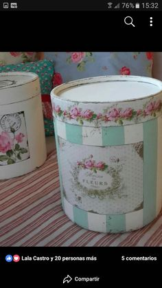 Diy Decoupage Vase, Laundry Box, Soda Can Crafts, Tin Can Art, Hat Boxes, Clay Pots, Shabby, Scrapbook, Create