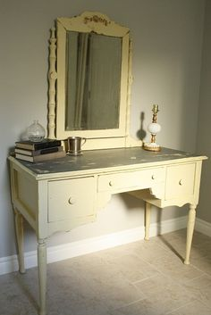 I would love to make a vanity in one of the rooms from cheap craigslist furniture.