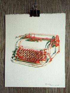 Dactylo 5 sérigraphie imprimée à la main 8 par CindyLabrecqueDesign