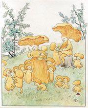 Följ årstidsväxlingarna i ny pek- och konstbok med Elsa Beskows bilder Elsa Beskow, Art And Illustration, Autumn Scenes, Mushroom Art, Art Plastique, Botanical Prints, Beautiful Paintings, Faeries, Les Oeuvres