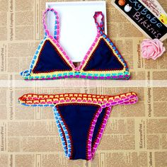 Trendy Push Up Big Bowknot Striped Halter Bikini Set 2016 Beach Brazilian Women Swimsuit Triangle Swimwear Female Bathing Suit#triangl swimwear