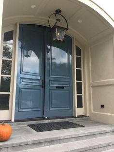 Lacquered walls and trim. High gloss wall and ceilings. Painted Exterior Doors, Exterior Door Colors, Front Door Paint Colors, Painted Front Doors, Fine Paints Of Europe, Black Interior Doors, Entry Doors, Entrance, Porch Doors