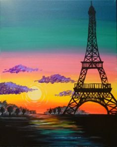Paradise in Paris This whimsical narration of the silhouetted Eiffel tower and an illuminated sunset would brighten up any room. Painting the Eiffel is made easy in this picture and would be an instant Instagram hit! Remember Lavi Ka Bel (life is beautiful)