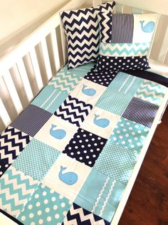 WHALE Baby Quilt Set, Baby Boy Crib Quilt and two cushion covers, this is so cute! Maybe for Camden's big-boy room Baby Boy Cribs, Baby Boy Quilts, Baby Boy Rooms, Baby Boy Nurseries, Baby Boys, Diy Bebe, Everything Baby, Baby Kind, Quilt Sets