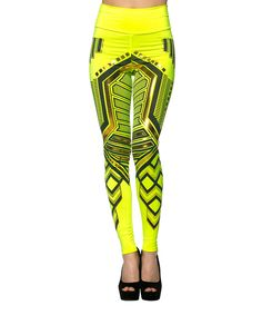 This K TOO Neon Yellow Abstract Leggings by K TOO is perfect! #zulilyfinds