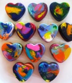 VALENTINES DAY/KID CRAFTS - heart crayons