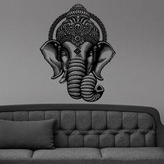 Buddha Dance Indian Hinduism Elephant Ganesh Buddhism Wall Stickers Art Vinyl Decal Sticker Mural Ganesha Elephant Crown Om D573