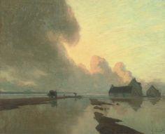 on the flood plain at dusk.