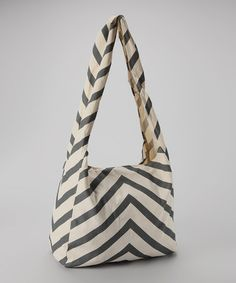 Take a look at this Gray Mitered Stripe Canvas Bag by Vine Street Market, USA on #zulily today!