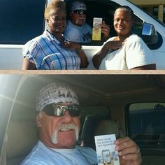 Hulk Hogan getting his tract (August campaign by JW's). This tells about the new website, JW.ORG where people can find answers to life's questions, and answers straight from the Bible.