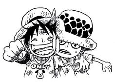 Luffy and Law as children - Trafalgar D. Water Law and Monkey D. Luffy one Piece