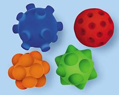 These balls are awesome! They are velvetey as well as bouncy and easy for little hands to grasp.