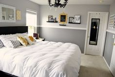 Gray and Yellow Bedroom--like this diane? gray walls n white comforter with yellow accents?
