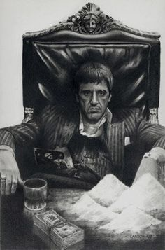 Al Pacino in Scarface, who was Tony Montana, was the kingpin of drug trafficking in Miami. Scarface Quotes, Scarface Poster, Scarface Movie, Al Pacino, Arte Do Hip Hop, Gangster Tattoos, Chicano Tattoos, Gangster Movies, Photographie Portrait Inspiration