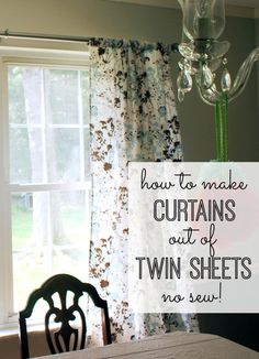 Want to make some easy, no -sew curtains? Make curtains out of twin sheets! Simple, cheap and fast! No sew!