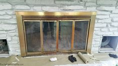 DIY Updating A Dated Brass Fireplace Blogger Decor, Updating House, Diy Remodel, Remodeling Projects, Home Decor, Bachelorette Pad, Fireplace Doors, Fireplace, Design Inspo