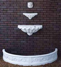Cast Stone Garden Fountains Two Shell Lion Wall Fountain 3 pieces; Shown in White Lion h X w Top Bowl h X w X deep Lower Bowl h X w X deep Half Round Spanish Coping h X w X deep