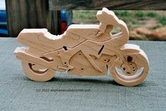 Scroll Saw Wooden Puzzles | pine motorcycle puzzle