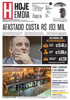 Capa do dia 13/12/2016 #HojeEmDia #Jornal #Notícias #News #Newspaper