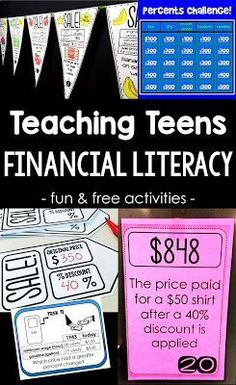 Looking for activities to teach teens financial literacy? In this post I share some of the activities I use to teach my consumer math class, including a few few resources to get started teaching financial literacy today. Money Activities, Activities For Teens, Literacy Activities, Literacy Centers, Physical Activities, Teaching Money, Teaching Math, Teaching Technology, Kindergarten Science