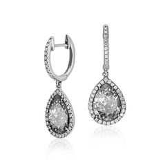 Faceted Diamond Slice Earrings in 18k White Gold