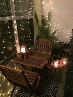 Small balcony decor ideas small apartment balcony design ideas string lights, outdoor decor, porch design and porch decor, outdoor living, outdoor design, palms, tropical garden, balcony garden, lanterns, candles, succulents, desert plants, summer nights