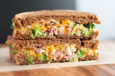 I'm almost at a loss for words to describe this Broccoli Ham Grilled Cheese Sandwich, it is just that good! I guess I will say, let the pictures tell you e