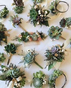 """1,512 Likes, 66 Comments - Lindsey @ EUCCA Floral (@eucca) on Instagram: """"Another busy week! Succulent bracelets, corsages, hair comb, and #cutebouts from today. """""""