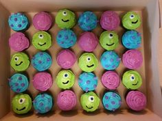 Monsters, Inc. Cupcakes! Mike Wizowski, colors for Sully and Boo!!  Yum!