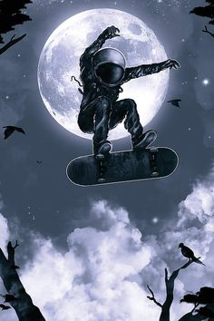 Space Skate Canvas Wall Art by Nicebleed Space Drawings, Space Artwork, Wallpaper Space, Galaxy Wallpaper, Cool Artwork, Art Patin, Art Galaxie, Wallpaper Bonitos, Astronaut Wallpaper