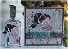 Ballerina card and tag Tiddly Inks stamp