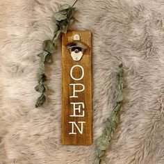 """Wooden Beer Opener Sign """"OPEN"""" Dark Stain with White Lettering Kitchen Sign Home Wall Bottle Opener Sign Foster Cat, Foster Kittens, Open Signs, Stuck In My Head, Beer Bottle Opener, Dark Stains, Kitchen Signs, Recycled Wood, Recycling"""