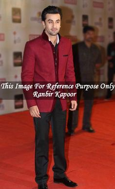 Ranbir Kapoor suit. It includes velvet red color jacket trimmed with matching velvet It has black color polyester trouser.