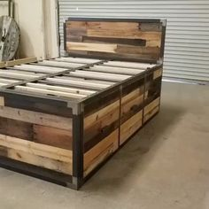 This hand-built industrial design platform storage bed features reclaimed wood a.Thanks for this post.This hand-built industrial design platform storage bed features reclaimed wood and is wrapped in steel. Comes with 6 large# bed Industrial Platform Beds, Rustic Platform Bed, Platform Bed With Storage, Pallet Platform Bed, Industrial Bed Frame, Industrial Storage, Pallet Furniture Bed, Diy Pallet Bed, Diy Furniture Projects