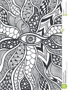 zen doodle pattern coloring texture tangle zentangle eye doodles easy mandala drawing drawings scarabocchio doodling groviglio struttura modello blanc noir