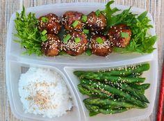 Chicken Teriyaki Meatballs with Rice and Asparagus | 19 Easy Hot Lunch Ideas…
