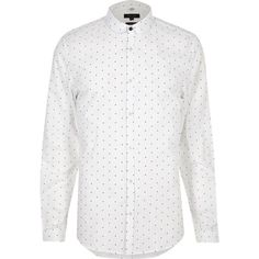 River Island White dot print slim fit shirt ($56) ❤ liked on Polyvore featuring men's fashion, men's clothing, men's shirts, men's casual shirts, shirts, mens slim fit long sleeve t shirts, mens casual long sleeve shirts, mens white shirts, mens white long sleeve shirt and mens polka dot shirt