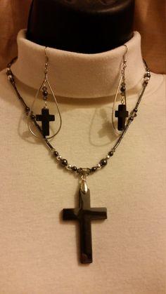 Beautiful Black Cross Necklace Set - Black Hematite Cross Pendant - Black Agate Cross Earrings