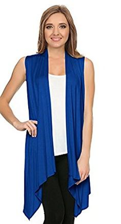 ad487c197 Womens Asymmetrical Draped Open Front Cardigan Jersey Knit Sleeveless Vest  - USA -- Details can be found by clicking on the image.