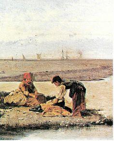 Antonio Varni - le lavandaie alla foce del torrente  Bisagno (The washerwoman at the mouth of the Bisagno)
