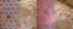 different hexagonal terracotta tile effects