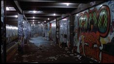 Graffiti in Subway station / Uncredited / Old New York City Ville New York, New York Architecture, City Pages, Cyberpunk City, S Bahn, Dark City, Nyc Subway, Vintage New York, City That Never Sleeps