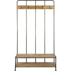 This coat rack is the epitome of industrial chic, a look which is very much in fashion right now. Constructed from a metal frame with wooden bench gives a rustic look whilst retaining quality. We have matching pieces available to complete the full rustic Hallway Furniture, Bed Furniture, Unique Furniture, Luxury Furniture, Furniture Stores, Garden Furniture, Old Wall, Coat Stands, Exposed Wood