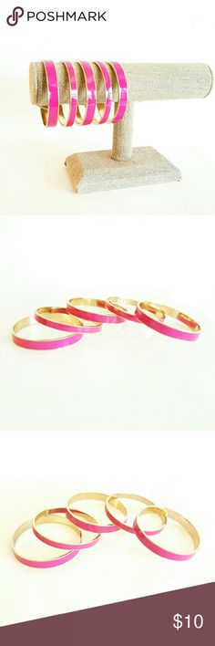 5 Pink/Gold Bangle Bracelets The outside of the bracelets are pink with a gold edge on the top and the bottom. Gold is on the inside of the bracelets. They vary slightly in width with 2 bigger ones and 3 smaller ones. Very sturdy! Jewelry Bracelets